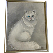 Lorna Buckler, White Fluffy Persian Cat with Blue Eyes Oil Painting on Canvas Signed by Artist
