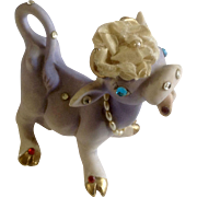 Mid-Century Anthropomorphic Purple Cow With Lots of Rhinestones Bisque Figurine Made in Japan