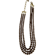 Vintage Beautiful Chocolate Brown Faux Pearl Beaded 3 Cascading Strand Necklace Costume Jewelry 18""