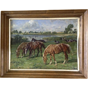 Alfred Roloff  (1879 - 1951) Pastural Landscape Oil Painting on canvas 'Pferde Auf Der Koppeln', Horses in Pasture, Signed by Listed Artist