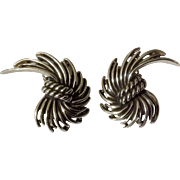 Vintage Charel Silver Tone Clip Earrings Costume Jewelry