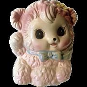 Vintage Rubens Originals Baby Pink Bear Planter 1039X Ceramic Figurine Made in Japan