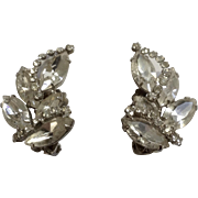 Vintage Weiss Faux Diamond Rhinestone Clip on Earrings Signed Costume Jewelry