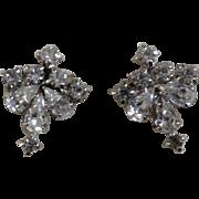 Vintage Faux Diamond Rhinestone Screw Back Earrings Costume Jewelry