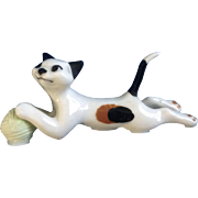 Retired Hagen Renaker Pouncing Cat Figurine #2047-1989