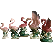 Vintage Bone China Miniatures Flamingo Bird Family Group Made in Japan Figurines