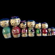 8 Vintage Kokeshi Japanese Bobble Head Wooden Figurines Dolls Family
