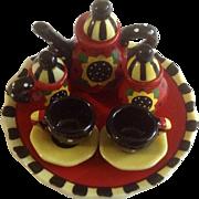 "Mary Engelbreit Miniature Tea Set Red, Black & Yellow Sunflowers 4"" Tray Porcelain"