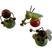 Vintage Erzgebirge Miniature Wooden Ladybug Grasshopper Bug Band Tiny Germany Wood Musicians