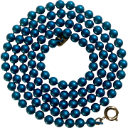 """Dark Aquamarine Blue Metal Bead Necklace Marked with Flower Maker's Mark Costume Jewelry 24-1/2"""""""