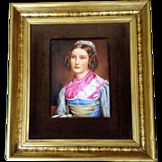 Helene Sedlmayr, Gorgeous Famous Beauty Portrait on Porcelain Transferware Picture, Brown Velvet Mat in Gold Frame, Not a Painting