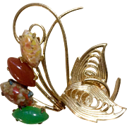 Gold Tone Brooch Pin with Faux Colored Stones Costume Jewelry