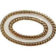 Monet Gold Tone and Light Beige Cream Enamel Oval Circle Brooch Pin Costume Jewelry