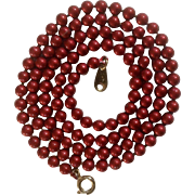 Candy Apple Red Metal Bead Necklace Marked with Flower Maker's Mark Costume Jewelry 24-1/2""
