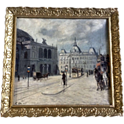 E. M. European Figural Street Scene in Town Square Antique Oil Painting Signed by Artist 1909