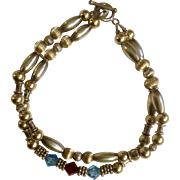 """Pretty Vintage Gold Tone 925 Sterling Silver Clasp Crystal Bracelet Costume Jewelry 7-1/4"""""""