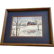 Maureen Frommelt, Barn Reflection, Landscape Watercolor Painting Signed By Iowa Artist