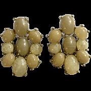 "Gold Tone and Faux Glitter Beige Stones Dangling Pierced Earrings 1-1/2"" Costume Jewelry"