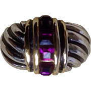 18K Gold Filled Amethyst Color Stones Women's Ring 6-1/2 ""
