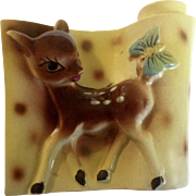 Vintage Bambi Deer Fawn Planter Mid-Century Japan Figurine With Butterfly on Tail