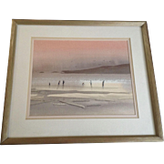 Eden, The Beach at Sunset Seascape Watercolor Painting Works on Paper Signed By Artist