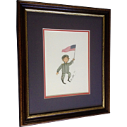 P Buckley Moss Army Boy Holding American Flag Rare Limited Edition Print Signed by Listed Artist