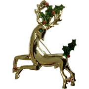 Vintage Gerry's Rudolph Reindeer Gold Tone Enamel Rhinestone Holly Christmas Tree Brooch