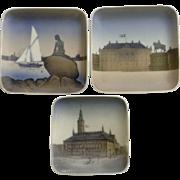 Vintage Group Bing & Grondahl Royal Copenhagen Denmark  Amalienborg, Den Lille Havfrue Mermaid, Kobenhavns Raadhus B&G Collector's Plates