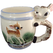 Vintage Always Drink Milk  Bambi Deer Fawn Mug Cup Hand Painted Ceramic Japan