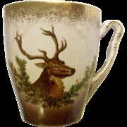 Vintage Stag Deer Hand Painted Bone China Demitasse Cup Gold Brown and Pink