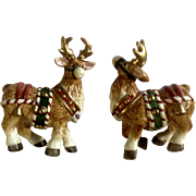 FF Fitz and Floyd Christmas Reindeer Salt and Pepper Ceramic Figurines S & P Shakers