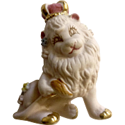 Rare Pink Lion King With Crown Bisque Ceramic Parksmith Original Figurine Japan