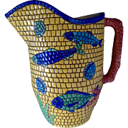 Rare Nettuno Pattern Mosaic, Fish, Shell and Coral 64 Oz Pitcher by Vietri Italy Discontinued