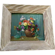 Bessie Helstrom  (1874 - 1966) Wildflower Arrangement Floral Still Life Oil Painting on Board Signed by Listed Artist