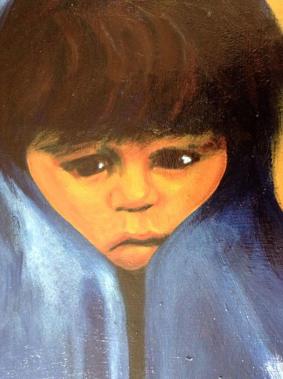 Big Sad Eyed Native American Indian Boy In A Blue Blanket, Large Oil From -7207
