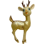 Vintage Rubber Christmas Reindeer With Red Rhinestone Eyes Collectable Figurine