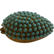 Vintage Egg Shaped Faux Turquoise Colored Beads Gold Tone Trinket Box Figurine