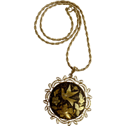 "Damascene, Nielloware Bird and Flowers, Black and Gold Tone Pendant on Chain 16-1/2"" Long Necklace Costume Jewelry"