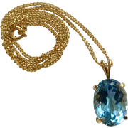 "Short Gold Tone Necklace 17-1/2""  with Crystal Glass Aquamarine Pendant Costume Jewelry"