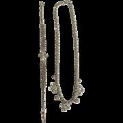 Vintage La-Rel Signed Silver Tone With Clear Sparkle Diamond Rhinestones Necklace and Bracelet Set