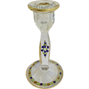 Heisey Art Deco Crystal Glass Candlestick with Hand Painted Enamel Flowers and Gold Trim Candle Holder