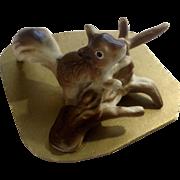 Rare Napco Squirrel on a Log Bone China Miniature on Original Cardboard Figurine Made in Japan