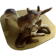 Rare Napco Squirrel on a Log Bone China Miniature on Original Cardboard Figurine Made in Japan
