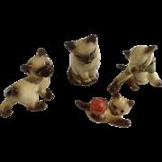 Vintage Hagen Renaker Siamese Kitten Cat Group of 4 Figurines