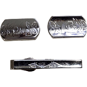 Vintage Swank Cufflinks and Matching Tie Bar Clip Silver Tone Set