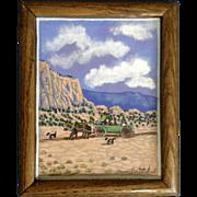 Jonson Denetclaw Native American Navajo Wagon Cart Acrylic Landscape Painting Signed by Artist