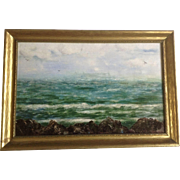 W. T. Rambo, Seascape Coastal View of Great Lake Oil Painting on Canvas Signed by Chicago Artist 1933