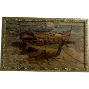 R Muller, Fishing Boats on a Beach, European Oil Painting Signed by Artist