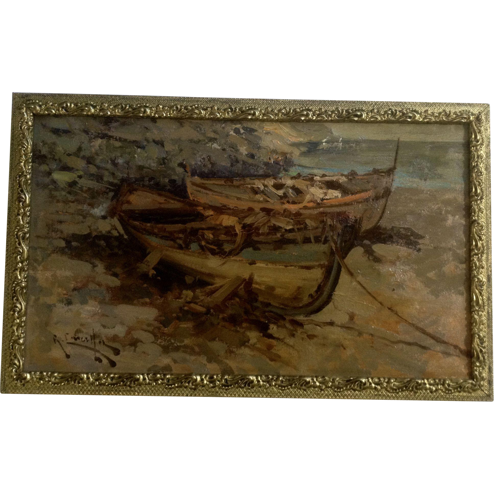 Old Fishing Boats On Beach: R Muller, Fishing Boats On A Beach, European Oil Painting