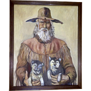 Santiago Perez Narrative Character Western Mountain Man With Wolf Pups Oil Painting Signed by Listed Artist
